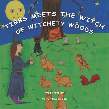 front cover of tibbs meets the witch of witchety woods - witch standing in woods talking to assembled animals